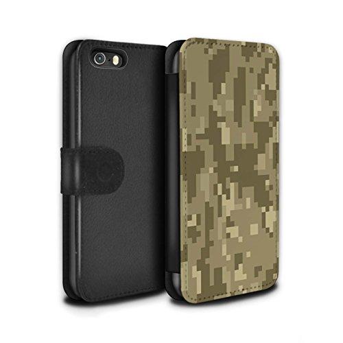Stuff4® PU-Leder Hülle/Case/Tasche/Cover für Apple iPhone 5/5S / Brauner Cadpat Digital Muster/Militär Camouflage Tarnung Kollektion