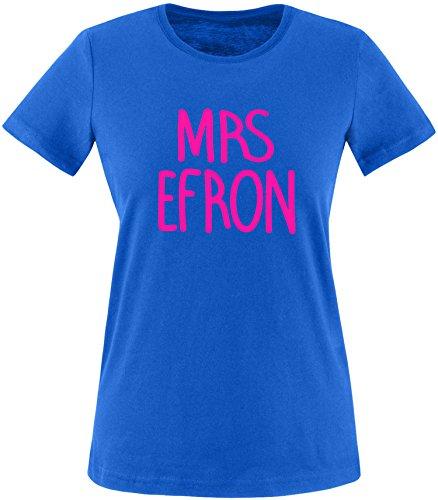 EZYshirt® Mrs. Efron Damen Rundhals T-Shirt Royal/Pink