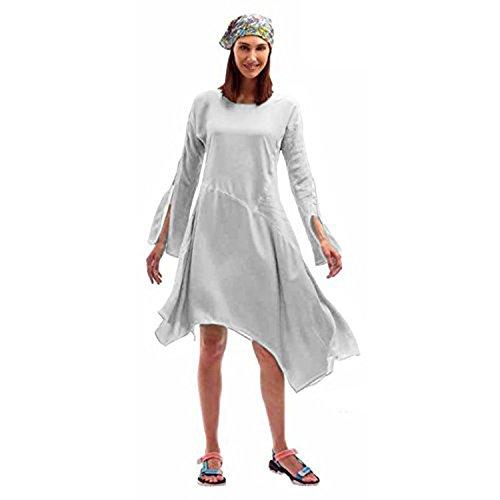 Robe D'été Asymétrique Très Ample et Légère en Bi-matiére Blanc