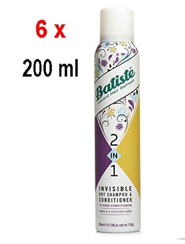 6 x Batiste 2in1 Trockenshampoo & Conditioner - Vanille & Pasion Blume - 200 ml