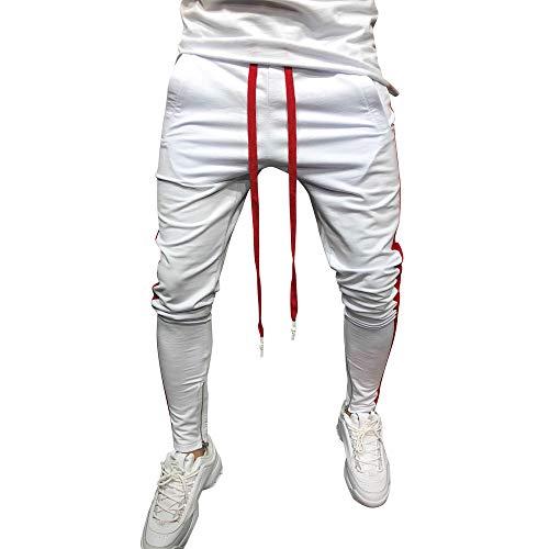 Herren Streifen Fitness Hose, Männer Mode Hip-Hop-Stil Slim Fit Freizeit Beam Fuß Hose Qualitativ Hochwertige Herrenhose Tunnelzug Schnell Trocknend Atmungsaktiv Sport Hose