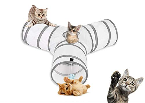 aokuy Túneles para Gatos,Túnel de Gato3 Vías Plegable Juguete del Gato/Divertido Juego Juguete Tubo/Túnel de Juguete con Pelota para Mascota Gatos Conejos Cachorro Uso Interior y Exterior