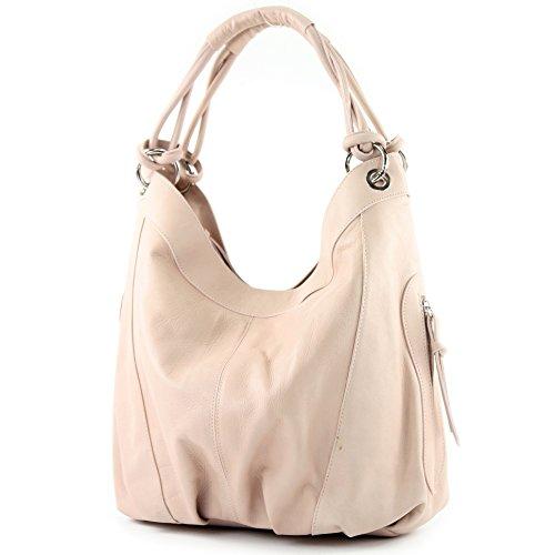 modamoda de - Z18 - ital Damenhandtasche aus Leder/Nappaleder, Farbe:Rosabeige