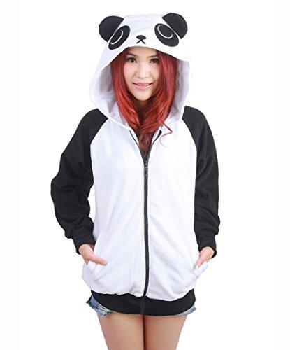 toon Anime Hoodies Jacke Unisex Tiere Reißverschluss Sweatshirt Mantel Cosplay Kostüme Panda L (Ky Halloween Kostüm)