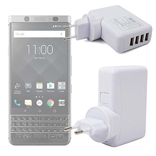 DURAGADGET-Cargador-De-Viaje-Para-Smartphone-Blackberry-Mercury-DTEK70Keyone-Vernee-Apollo-Mars-Vertu-Constellation-2017-Wileyfox-Swift-2X-ZTE-Hawkeye-Con-4-Puertos-USB-Y-Enchufe-Europeo-En-Color-Blan