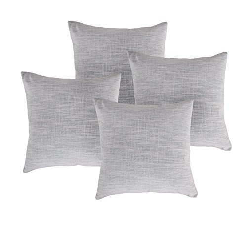 deconovo gewebte Baumwolle Leinen Kissenbezug Streifen Kissen Fall Muster kissenrollen, Light Grey -4 PCS, 18 x 18 Inch -