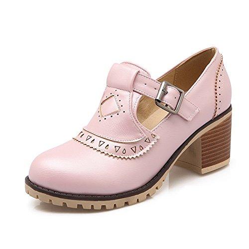 AgooLar Damen Rein Weiches Material Mittler Absatz Schnalle Rund Zehe Pumps Schuhe Pink