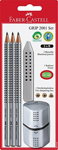 Faber-Castell 580096 – Blister de 3 lápices Grip B, goma y afilalápices