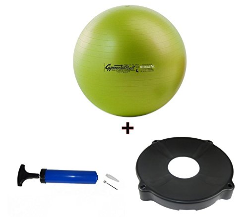 Pezziball MAXAFE SET + inkl. Ballschale universal + inkl. Pumpe, Pezzi Ball Gymnastikball 42cm, 53cm, 65cm, 75cm, ALLE Farben und Größen (apfelgrün, 75cm)