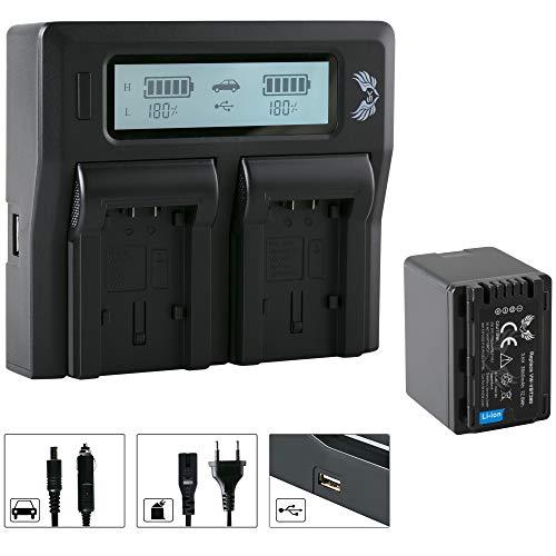 SK Akku Panasonic VW-VBT380 3560 mAh & LCD Doppel-Ladegerät für Panasonic HC-V777 VX989 VXF999 WX979 HDC-H100 S71 TM90 und weitere Sdr-t70-camcorder-batterie