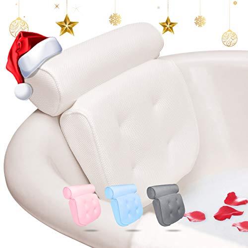 Essort cuscino per vasca da bagno cuscino poggiatesta vasca impermeabile antiscivolo con ventose per vasca da bagno, spa e idromassaggio, per testa, collo (bianco)