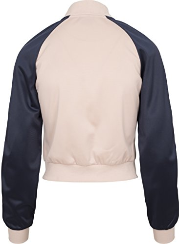 Urban Classics Damen Sweatjacke Ladies Short Raglan Track Jacket Mehrfarbig (Light Rose/Navy/White 01223)
