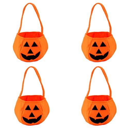 Tasche Oder Trick Behandeln Kostüm - TOYANDONA 4pcs Kürbis Süßigkeiten Halter Mini Trick behandeln Halloween Candy Eimer Inhaber