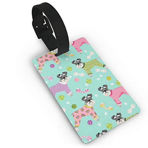 Schnauzers In Jammies Cute Dogs In Pajamas Pyjamas Travel Luggage Tags Name ID Identification Labels Set for Bags Baggage Suitcases Thick PVC Wristband
