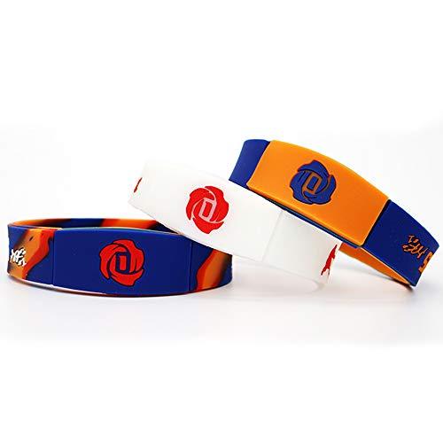 Lorh's store NBA Basketball Sterne inspirierende Unterschrift Doppelschicht Gedenk-Ausgabe Armbänder Reversible Sport Silikon Armband 3 Stück (Derrick Rose) (Rose Derrick)