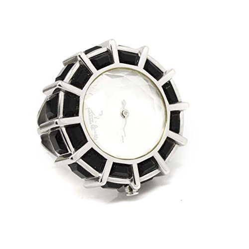 Roberto Cavalli Women Ring With Clock Black And White