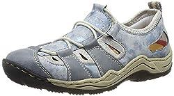 Rieker Damen L0561-12 Sneaker, Blau (Adria/Heaven/Silverflower 12), 43 EU