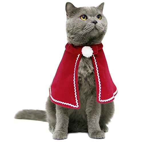 endog Weihnachen Kostüme Roter Samt Kap Winter Kleidung Niedlich Cosplay für Katzen Weplen Chihuahua L ()
