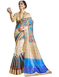 Macube Women's Bhagalpuri Silk Printed Saree With Blouse Piece - MS185_25_Beige_Free Size