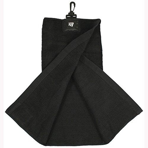 Masters Tri-Fold Golf Towel with Bag Clip And Club Scrub Patch - Black