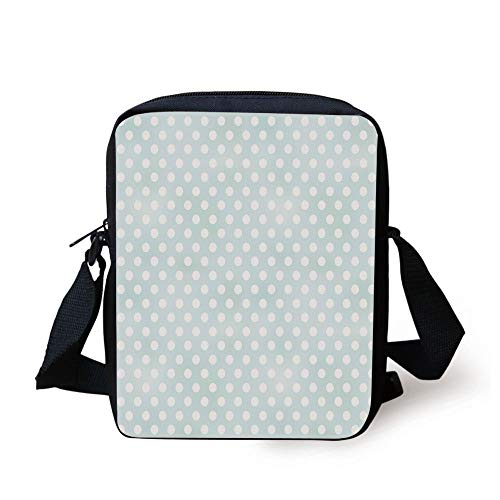 Light Blue,Retro Style Polka Dots Soft Spot Baby Colors Faded Kids Fashion Vintage Decorative,Mint Green White Print Kids Crossbody Messenger Bag Purse -