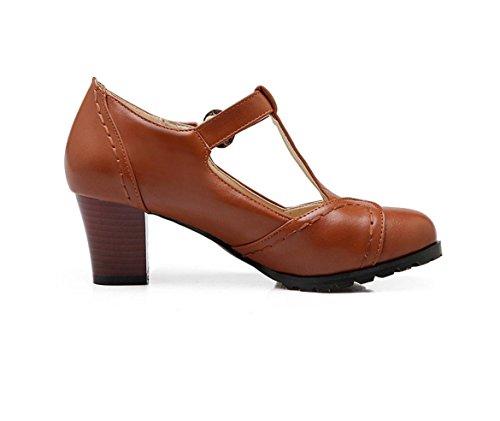 WZG Chaussures boucle épaisse avec des chaussures simples avec des chaussures casual sauvages rondes sandales d'été Dark Brown