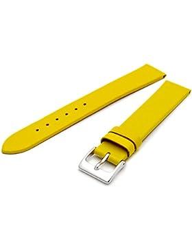 Feines Kalb Leder Uhrenarmband Band 16mm Extralanger XL Gelb mit Chrom (Silber Farbe) Schnalle. KOSTENLOSE Spring...