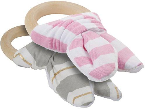 Kindsgut  Beißringe, Ring aus Holz mit Baumwollschleife, auch gut als Holz-Greifling geeignet, zwei Ringe im Set, Baby-Holz-Spielzeug, Entwicklungsspielzeug, Lernspielzeug, geeignet ab Geburt, grau/gold/zartrosa
