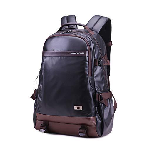 WEATLY 15-Zoll-Schulter-Laptop-Beutel-Rucksack-beiläufige Kursteilnehmer-Beutel-Reise im Freien Wasserdichte große Kapazitäts-Rucksack (Color : Black)