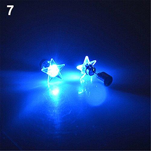 beiguoxia Let's Party LED Licht Stern Ohrringe Ohrstecker für Tanz-Party Weihnachten Halloween Festival Geschenk - Weiß, merhfarbig, Einheitsgröße