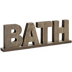 """Rústico de madera envejecido Vintage palabras cartel de pie """"baño"""" por cvhomedeco. Cuarto de baño/casa/puerta decoración de la pared, L29,8 x H9,5 x T2,5 cm"""