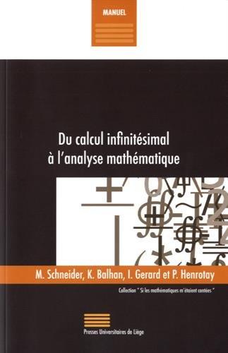 Du calcul infinitésimal à l'analyse mathématique