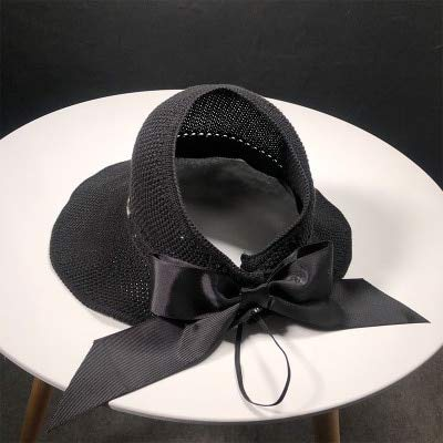 LUHETYM Women's Bow Tie Sun Hats Empty Top Wind Rope Breathable Sunscreen Adjustable Summer Solid Lovely Caps for GirlsBlackFashion Sun Hat Beach Hats Solid Black Bow Tie