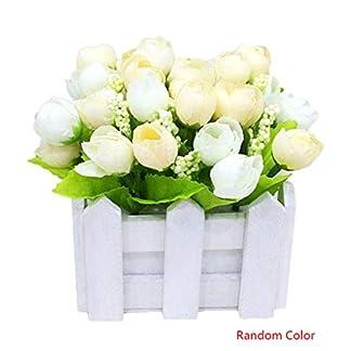 Fangfeen Cerca de Las Flores Artificiales Pequeño Planta de Tiesto del crisantemo Conjunto de Madera Falso Rose Home Living Room decoración de la Boda Color al Azar