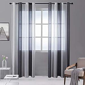 HETAIDA Voile Vorhang, Transparente Gardine Ösen Schlaufenschal Ösenschals Transparent Streifen Fensterschal Wohnzimmer Schlafzimmer Vorhang, 2-teiliges Set (Grau und weiß, 175x140 cm)