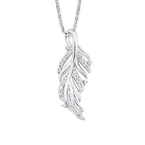 amor Damen-Halskette mit Blatt-Anhänger und Zirkonia aus rhodiniertem 925er Sterling Silber