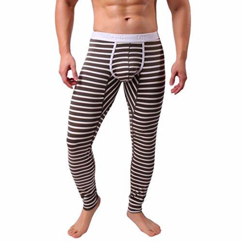 Herren Hosen, LHWY Mens Striped atmen Patchwork Low Rise Leggings lange Unterhosen thermische Baumwolle Hosen warme Leggings Bannfarbe Streifen (M, Brown) (Brown-streifen-hose)