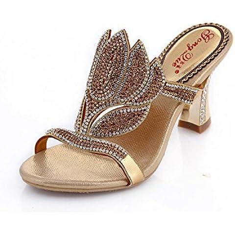 Ei&iLI Womens ladies fiori sandali col tacco strass sera scivolare su infradito scarpe da sposa sera ballo sandali , gold , 33