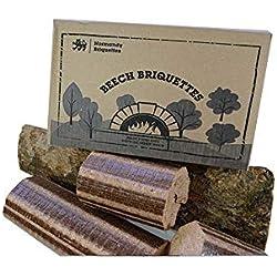 Briquettes de hêtre Normandy - 12kg pour poêle et four à pizza, bois de chauffage, buchettes compressées à combustion lente.Bois de hêtre 100% naturel et écologique