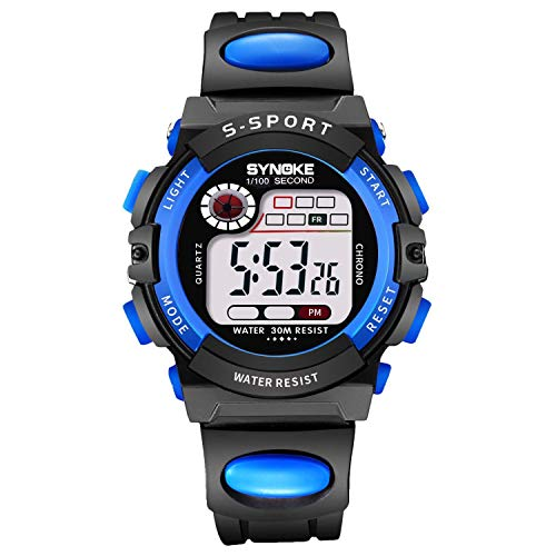 HOTXTONGHT Digital Kids Alarm Watch Waterproof Watches for Boys Girls Sports with Reminder Stopwatch Child Wristwatch for Youth Children Outdoor (Black Blue 2) -