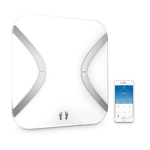 marsboy Báscula de Baño con Análisis Corporal de 12 Funciones. Control por medio de APP y Bluetooth Compatible con Android e iOS, Cristal Blanco