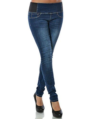 Damen Jeans Skinny Röhre (Hochschnitt weitere Farben) No 15502, Farbe:Blau;Größe:36 / S