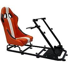 FK-Automotive Game Seat Spielsitz für PC und Spielekonsolen Stoff orange/weiß