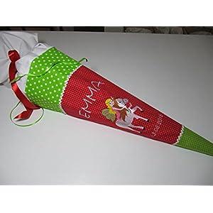 #159 Elfe auf Pferd grün-rot Schultüte Stoff + Papprohling + als Kissen verwendbar