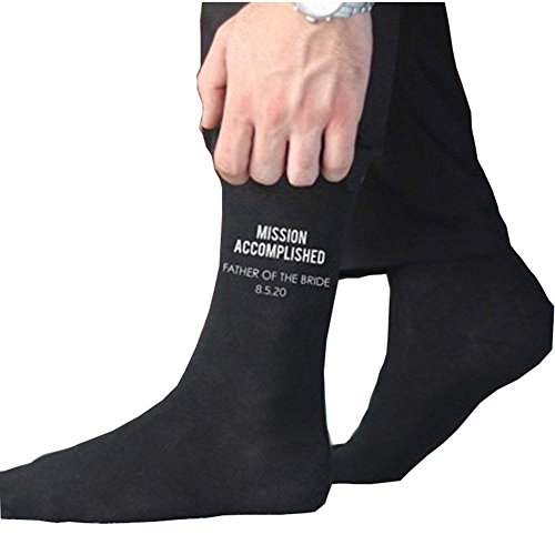 Party Hochzeit Socken (Hochzeit Party Lustig schwarze High-Tube-Socken für Bräutigam Bestman Vater Business Komfort Socken (Father Mission Accomplished 4#))