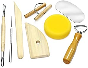 Bulfyss 8-Piece Wooden and Metal Pottery Tool Kit (Brown, YS8CLAYTOOL)