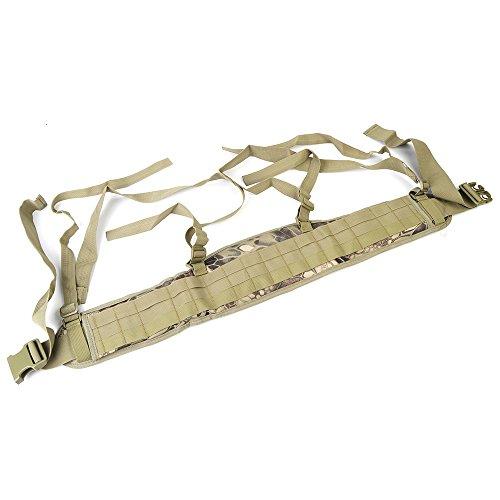 Airsson Duty Belt Sicherheit Taktische Molle Taille gepolsterte Gürtel Airsoft Combat Pflicht Gürtel Pad mit verstellbaren H-förmigen Strap Suspender für Outdoor-Sport HLD Camo