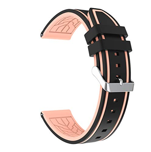 hrenband Ersatzarmband mit Edelstahl Metall Schließe für Samsung Galaxy Watch 46mm / Gear S3 Frontier/Gear S3 Classic/Moto 360 2. Generation 46mm / Amazfit (Schwarz + Rosa) ()