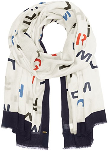Tommy Hilfiger Mixed, Sciarpa Donna, Multicolore (Hilfiger Text Scarf Eggnog 198), One Size (Taglia Produttore:OS)