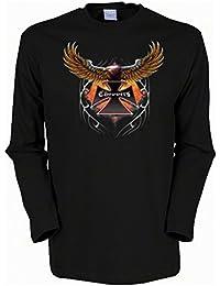 fliegender Adler Schwinge Biker Choppers Herren Langarmshirt in schwarz